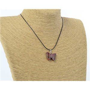 butterfly pendant necklace natural stone on waxed cord l49cm 71175