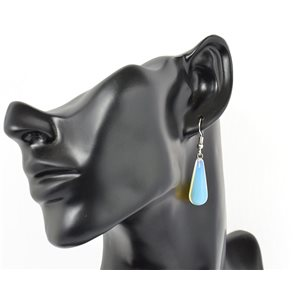 1p earrings natural stone on silver metal 71207