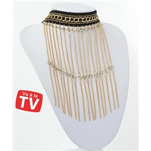 Collier Ras du Cou Chaines multirang Full Strass & Gold Collection Chic 71266