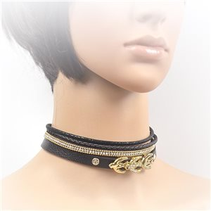 Necklace leather and rhinestone choker new collection 2017 2017 L32-40cm 71698