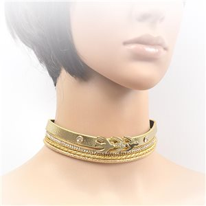 Necklace leather and rhinestone choker new collection 2017 2017 L32-40cm 71702