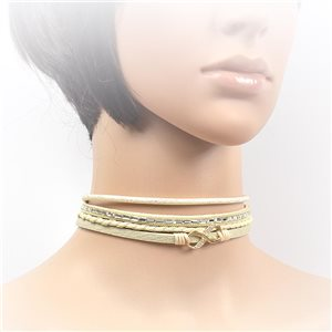 Necklace leather and rhinestone choker new collection 2017 2017 L32-40cm 71708