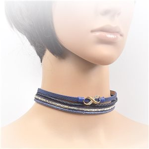 Necklace leather and rhinestone choker new collection 2017 2017 L32-40cm 71711