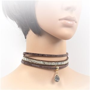 Necklace leather and rhinestone choker new collection 2017 2017 L32-40cm 71715