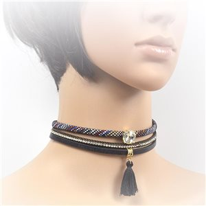 Necklace leather and rhinestone choker new collection 2017 2017 L32-40cm 71728