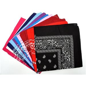 Lot of 12 Bandanas 10 colors 100% Cotton 55x55cm New Collection 2017 72054