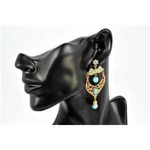 Earrings Rhinestones and Turquoise Jewelry nail-studded 72327