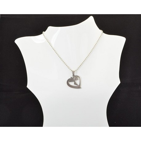 Necklace Pendant Brushed steel Shiny 61121