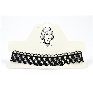 Choker Choker Necklace in Black Lace and Strass L33 / 38cm 72378