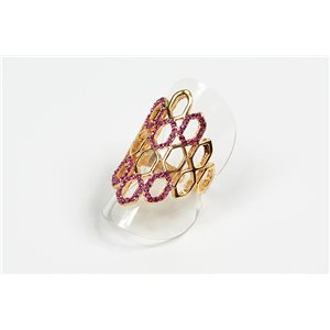 Adjustable Full Strass Ring on metal gold color New Collection 72571