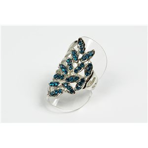 Adjustable ring Full Strass on metal silver color New Collection 72735