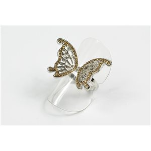 Adjustable ring Full Strass on metal silver color New Collection 72644
