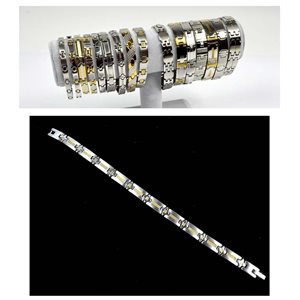 Bracelet en Acier inoxydable L20.5cm Steel and Gold Color New Collection 72764