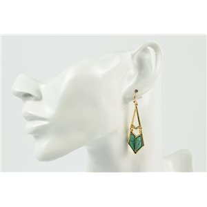 1p Earrings Metal Earrings Color Gold Gemstone Collection MilaLina 73152