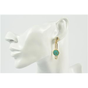 1p Earrings Metal Earrings Color Gold Gemstone Collection MilaLina 73154