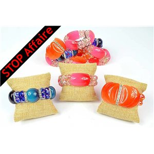 Lot of 12 Acrylic Bracelet on elastic thread 73303