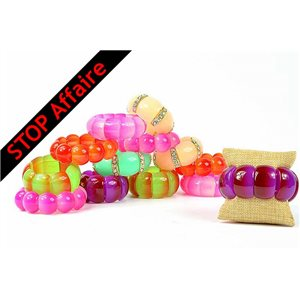 Set of 16 Acrylic Bracelet on Elastic Wire 73319