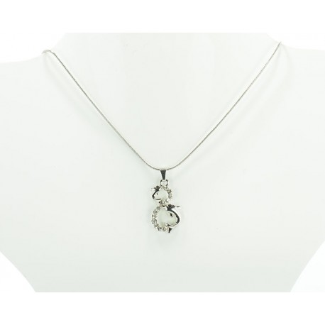 IRIS Rhinestones Pendant Necklace Snake Chain on 61651