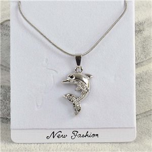Pendant necklace IRIS rhinestone strass chain snake L40-45cm Collection 2018 75147