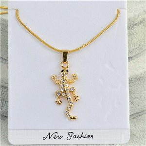 Necklace pendant IRIS rhinestone gold chain snake mesh L40-45cm Collection 2018 75177
