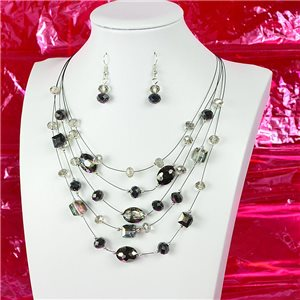 Parure Collier 5 rang Imitation de Pierres précieuses L44-48cm Collection Suspension 2018 75132