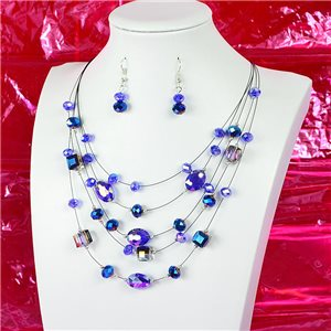 Parure Collier 5 rang Imitation de Pierres précieuses L44-48cm Collection Suspension 2018 75133