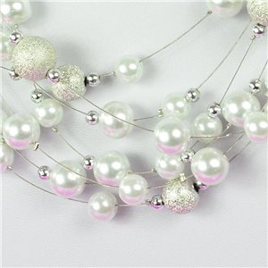 Adornment Necklace 7 rank Cascade imitation Pearl L44-48cm Collection Suspension 2018 75125