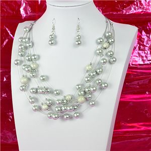 Parure Collier 7 rang Cascade imitation de Perles L44-48cm Collection Suspension 2018 75126