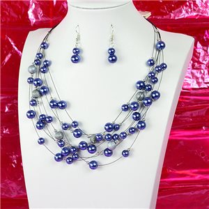 Parure Collier 7 rang Cascade imitation de Perles L44-48cm Collection Suspension 2018 75127