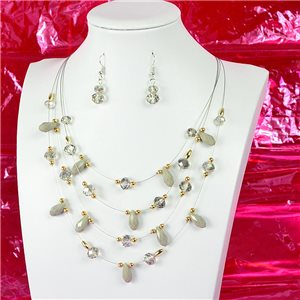 Parure Collier 4 rang de Perles L44-48cm Collection Suspension 2018 75135
