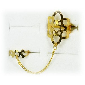 Double gold metal ring 60963 adjustable Phalanges