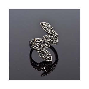 New Collection Adjustable Metal Ring Set with Rhinestone Color Anthracite 75653