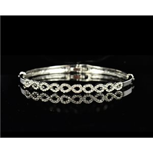 Bracelet metal Silver color Chic Collection set with Rhinestones D55mm L18cm clip clasp 75519
