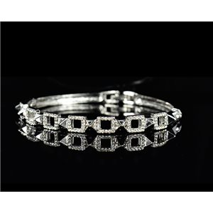 Silver metal bracelet Chic Collection set with Rhinestones D55mm L18cm clip clasp 75523
