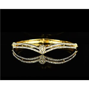 Gold colored metal bracelet Chic Collection set with Rhinestones D55mm L18cm clip clasp 75532