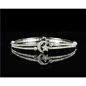 Bracelet metal color Silver Chic Collection set with Rhinestones D55mm L18cm clip clasp 75535