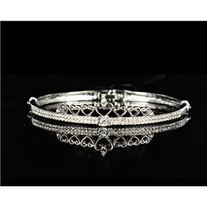 Metal Bracelet Silver Color Chic Collection set with Rhinestones D55mm L18cm clip clasp 75543