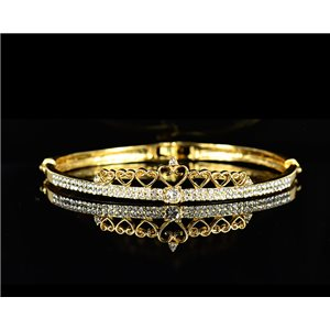 Gold colored metal bracelet Chic Collection set with Rhinestones D55mm L18cm clip clasp 75544