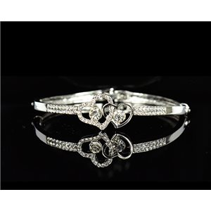 Bracelet metal Silver color Collection Chic set with Rhinestones D55mm L18cm clip clasp 75545