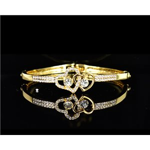 Gold colored metal bracelet Chic Collection set with Rhinestones D55mm L18cm clip clasp 75546