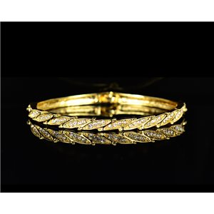 Gold colored metal bracelet Chic Collection set with Rhinestones D55mm L18cm clip clasp 75526