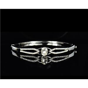 Silver metal bracelet Chic Collection set with Rhinestones D55mm L18cm clip clasp 75527