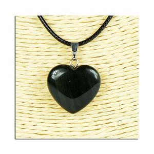Heart pendant necklace 20mm stone waxed cord L49cm 75809