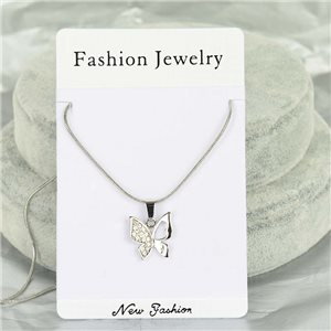Rhinestone Pendant Necklace IRIS Silver Color Chain snake mesh L40-45cm 75887