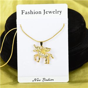 Necklace Rhinestones Pendant IRIS Gold Color Chain snake mesh L40-45cm 75866