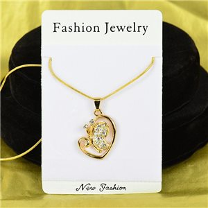 Necklace Rhinestones Pendant IRIS Gold Color Chain snake mesh L40-45cm 75890