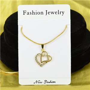 Necklace Rhinestones Pendant IRIS Gold Color Chain snake mesh L40-45cm 75894