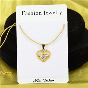 Necklace Rhinestones Pendant IRIS Gold Color Chain snake mesh L40-45cm 75896