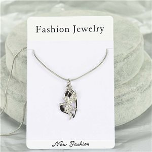 Rhinestone Pendant Necklace IRIS Silver Color Chain snake mesh L40-45cm 75899