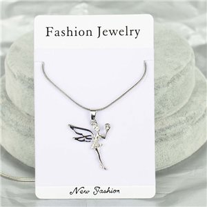 Rhinestone Pendant Necklace IRIS Silver Color Chain snake mesh L40-45cm 75903